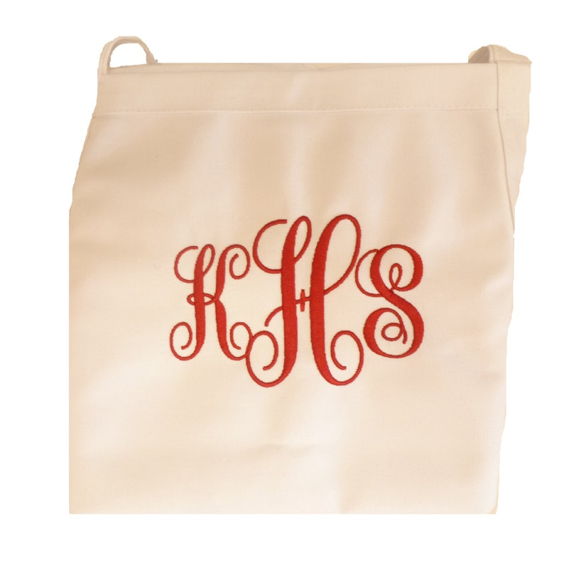 Custom Embroidered White Chef Apron with Large Vine  Monogram