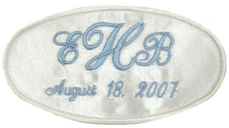 Erica Satin Wedding Dress Name Label Custom Embroidered Personalized AND  Gift Box