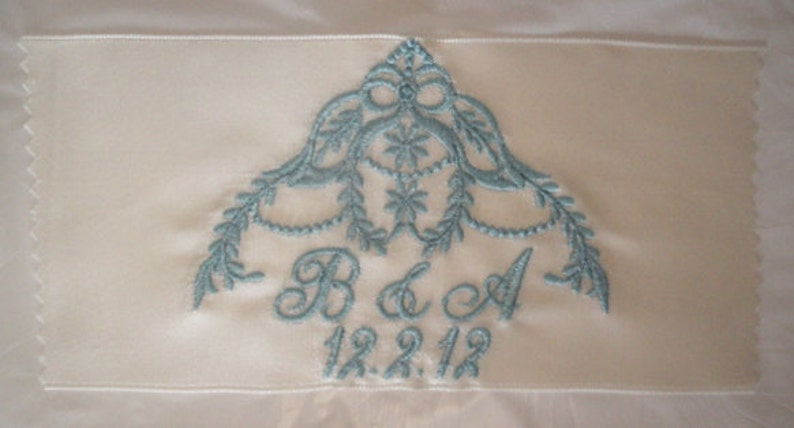 Brittany Embroidered and Personalized Satin Ribbon Wedding Gown Label with Cascading Heirloom Motif