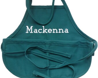 Teal  Child's Apron with Name Embroidered - Personalized