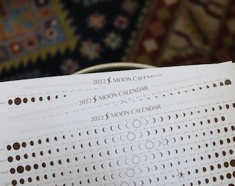 2022 Moon Calendar - Golden Earth, 2022 Wall Calendar, Moon Cycles, Moon Phase Calendar, Lunar Calendar, Moon Phase poster, witch calendar