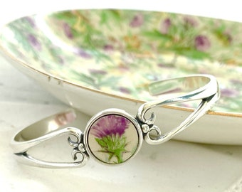 Broken China Jewelry Dainty Silver Ring Gifts for Women Hand Painted Thistle, Scottish Jewelry