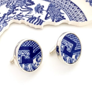 Green and Blue Broken China Cuff Links