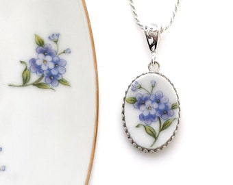 Broken China Necklace Forget Me Not Flower Necklace Anniversary Gift for Wife Repurposed Jewelry