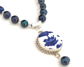Nautical Necklace, Blue Willow China, Boat, Nautical Jewelry, Gift for Her, Silver, Blue and White