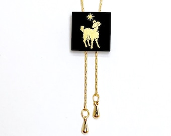 Aries Necklace Gold, Zodiac Jewelry, Ram, Long Gold Minimalist Necklace, Adjustable, Black and Gold, Birthday Gift For Her