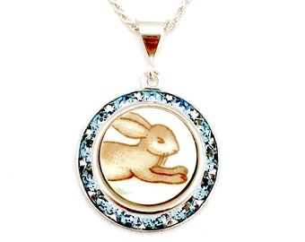 Recycled Repurposed Handmade Jewelry, Bunnykins, Rabbit, Broken China, Swarovski Crystal Necklace, Easter Spring Necklace, Bunny Jewelry