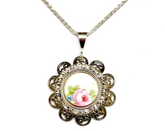 Rose Necklace, Broken China Jewelry, Swarovski Crystal Necklace, Pink Flower Necklace Jewelry