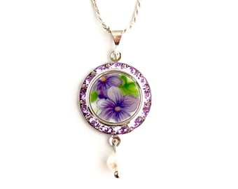 Graduation Gift for Girl. Purple Violets Necklace, Swarovski Crystal Necklace, Repurposed, Broken China Jewelry