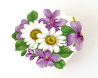 Purple Violet Necklace, Violet Jewelry, Daisy Flower Jewelry, China Necklace, Gift for Wife/Her, Recycled, Converts to Brooch