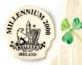 Irish St Patricks Day Pin Wolfhound Castle Harp Belleek Broken China Jewelry from Ireland