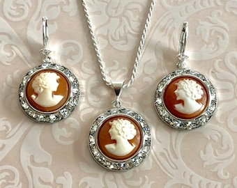 Italian cameo etsy glamorous bridal set necklace earrings vintage wedding jewelry italian cameo jewelry victorian jewelry aloadofball Image collections