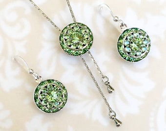 Peridot August Birthstone Earrings, Light Green Wedding Jewelry, Swarvoski Crystal, Birthday Gift for Her