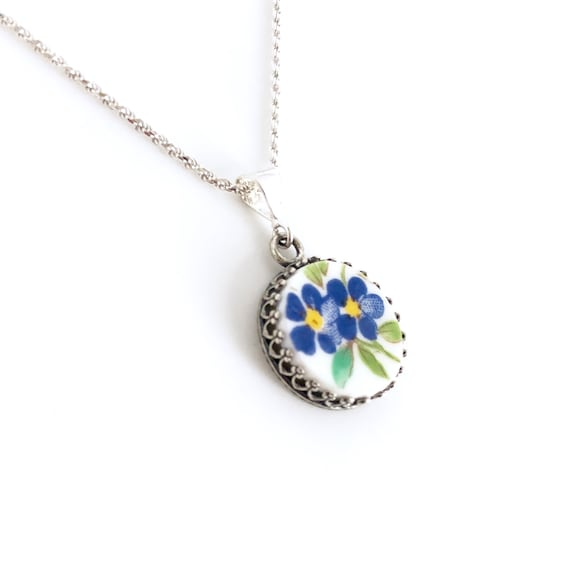 Heart Silver Necklace Unique Gifts for Women Forget Me Not Flower Necklace Broken China Jewelry Anniversary Gift for Wife