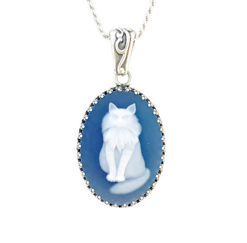 Blue Cameo Cat Necklace Romantic Anniversary Gift for Wife Sterling Silver Cat Jewelry
