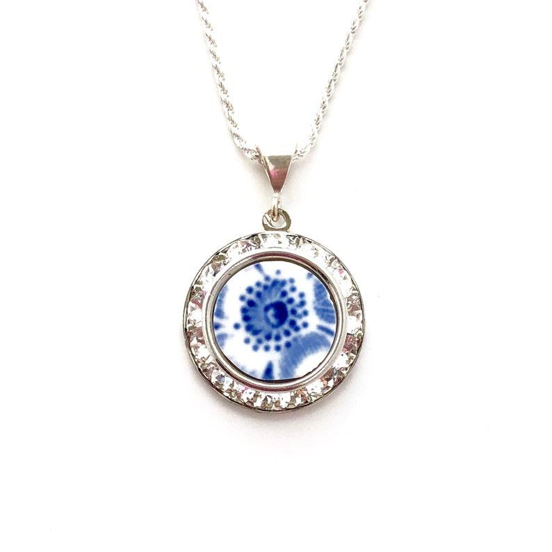 2baa6015eefdd Swarovski Crystal Broken China Jewelry Blue Flower Pendant Necklace Gift  for Wife