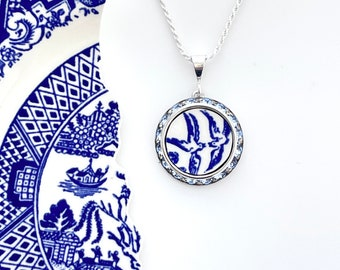 Love Birds China Necklace Broken China Jewelry Romantic 20th Anniversary Gift for Wife Vintage Blue Willow Ware China