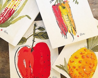 Fruits and Veggies... Vintage Vera Neumann Artwork Art Screen Print Stretched Canvas Fruit and Vegetable Corn Pineapple Apple Carrots