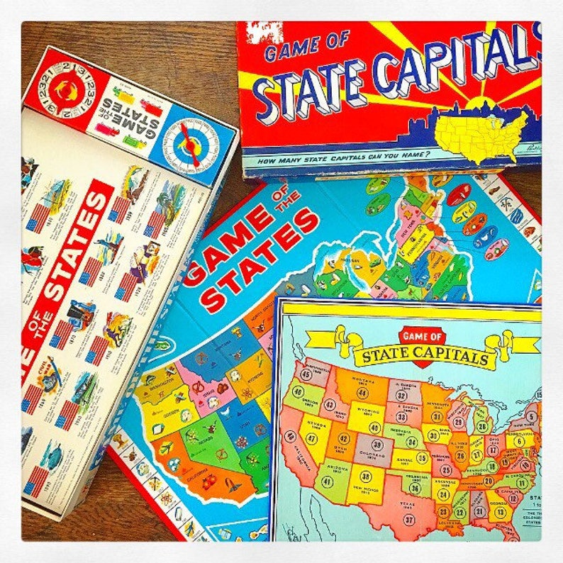 Game Night... Vintage Games United States Game Board Game of State Capitals  Game of The States Maps Teaching Aids Game Room Nursery Decor