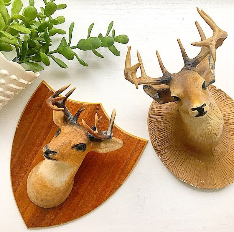 Deer Head Mount >> Oh Deer Vintage Faux Taxidermy Deer Head Mount Wall Hanging Pair Home Decor Cabin Camp Mountain Lake House Mantique Man Cave Hunter Gift