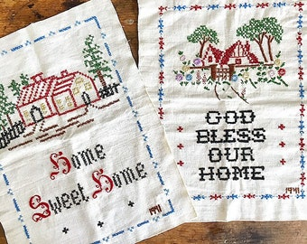 Home... Vintage Embroidery God Bless Our Home And Home Sweet Home Cross Stitch Hand Stitched Samplers Handmade Artwork Art  Your Choice