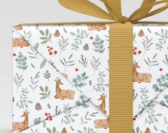 Woodland Animal Gift Wrap, Holiday Christmas Wrap, Wrapping Paper Sheets, watercolor illustration, holiday paper, botanical print, deer