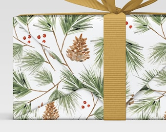 Pine Branches gift wrap, Forest print, Holiday Christmas Wrap, Wrapping Paper Sheets, scrapbook paper Christmas, all occasion gift wrap