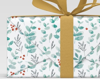 Watercolor Botanical print Gift wrap, all occasion wrapping paper, Holiday Christmas Wrap, Wrapping Paper Sheets, scrapbook paper Christmas