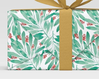 mistletoe gift wrap, Botanical print, Holiday Christmas Wrap, Wrapping Paper Sheets, christmas scrapbook paper, leaves print, watercolor