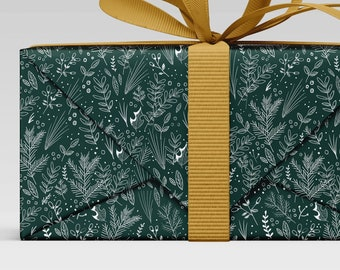 Evergreen gift wrap, Botanical print, Holiday Christmas Wrap, sketch print, Wrapping Paper Sheets, scrapbook paper Christmas
