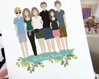 custom family portrait, family portrait drawing, family portrait illustration digital, family portrait with dog, family portrait watercolor