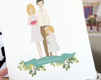 custom family portrait, custom couple portrait, family portrait illustration digital, family portrait with dog, wedding gift portrait