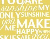 Custom You Are My Sunshine Pair of 2 Prints