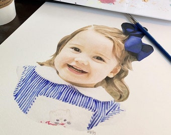 watercolor portrait from photo, children's watercolor portrait, child's portrait, custom portrait painting, family portrait, gift for mom