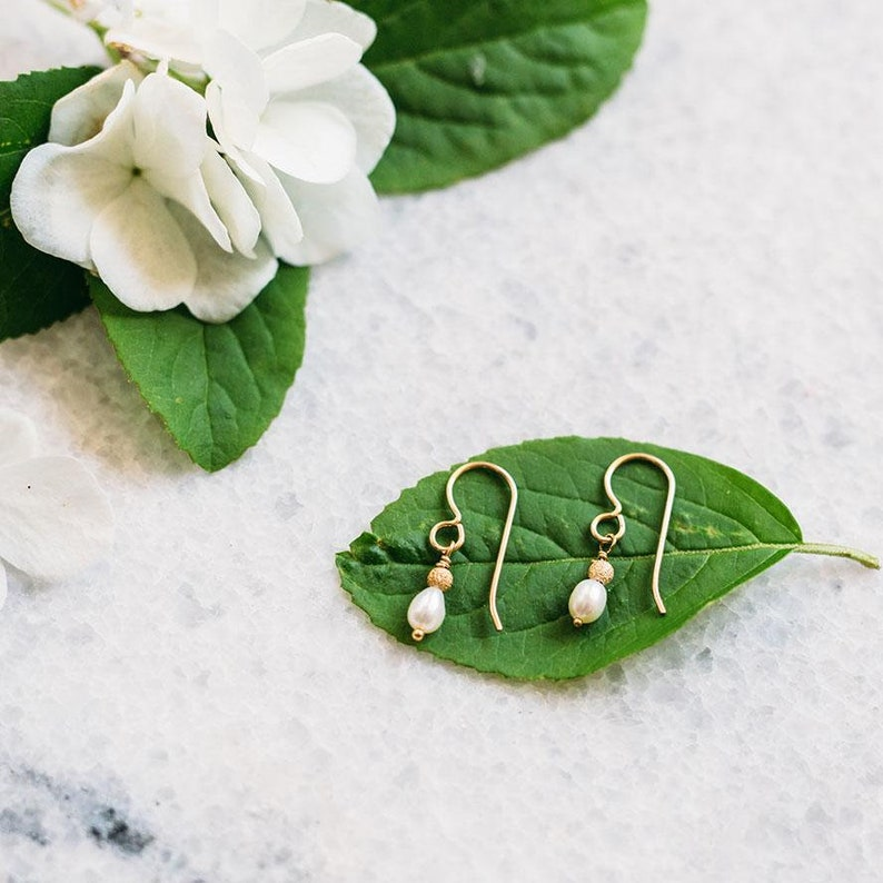 Gold-dusted Bead and Pearl Bridal Earrings -