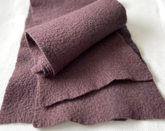 Naturally dyed merino felt / charcoal violet / 8 x 28 inches / hand dyed and felted / wool felt sheet / dyed with logwood, madder and cutch
