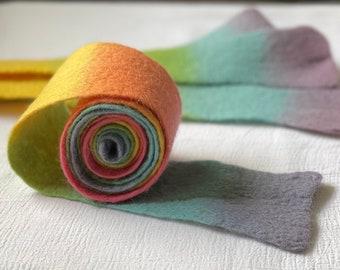 rainbow hand dyed felt / Extra long / 66 inches long / 3 inches wide / rainbow dyed / hand dyed and felted