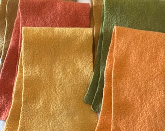 Wool Felt / Autumn Colors / 100% Merino wool / 7 X 26 inches / hand dyed and felted