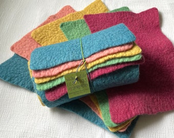 Plant Dyed Wool Felt Sampler / 100% Merino Wool / 5 Plant dyed colors / hand dyed and felted / sheets vary from 5 X 8 to 6 X 9 inches