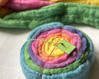 Organic Plant Dyed Wool - Merino Felting Wool  - rainbow colors - organic merino roving - 2.5 ounces - 70 grams
