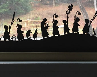 Root Children on a hill Silhouette - Paper art for windowsill or table - paper art gift - paper art decoration