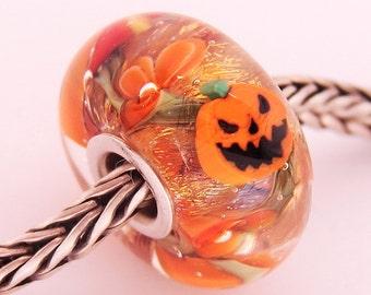 Halloween Scary Pumpkin Garden Glaslight Artisan Handmade Lampwork Glass Murano Dichroic Sparkle Bead SRA