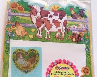 Vtg Sandylion Farm Life Die Cut Stationery Set SEALED writing paper cow chicken barnyard