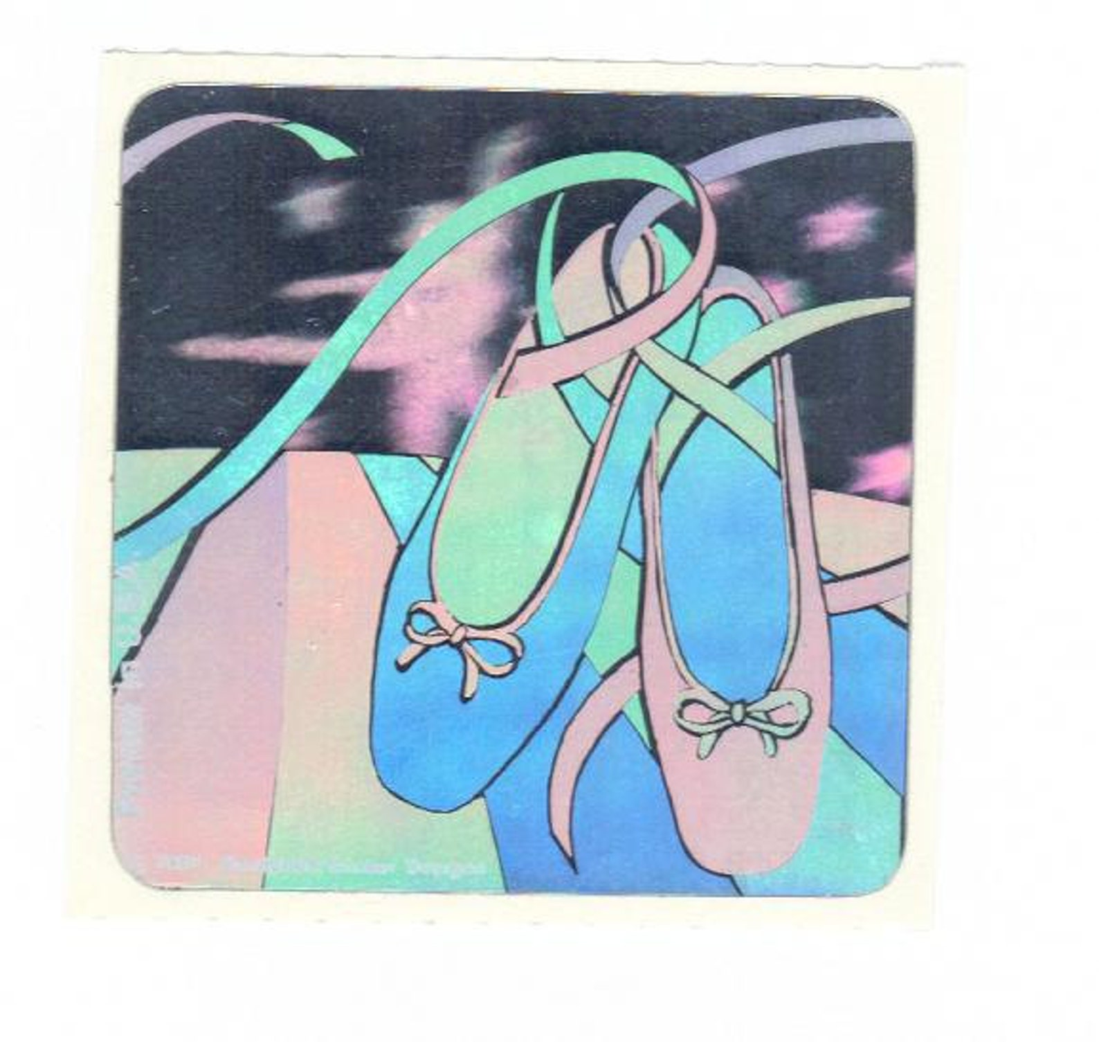 sandylion hologram ballet slippers sticker mod 1984 vintage shoes
