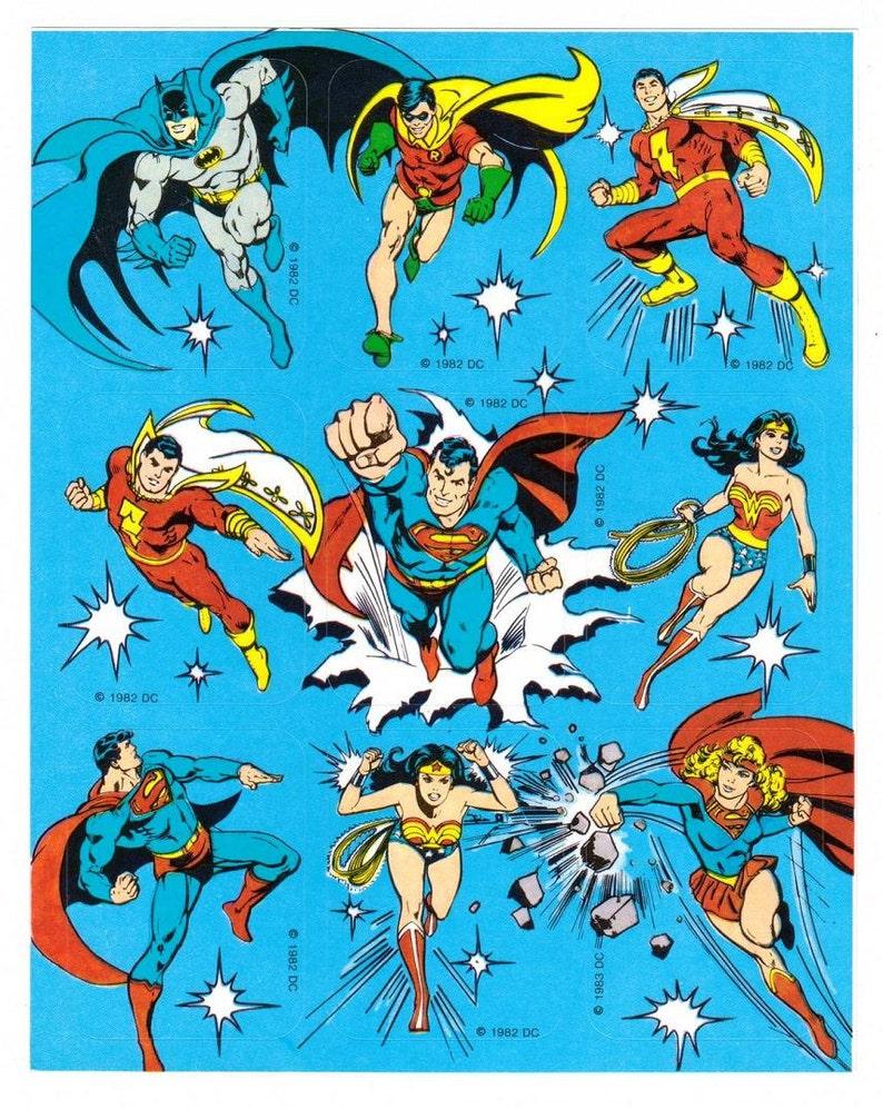 Vintage 80's DC Comics Character Stickers Justice League image 0