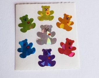 Vtg Sandylion Prism Rainbow Teddy Bears Sticker Mod Sandylion prismatic