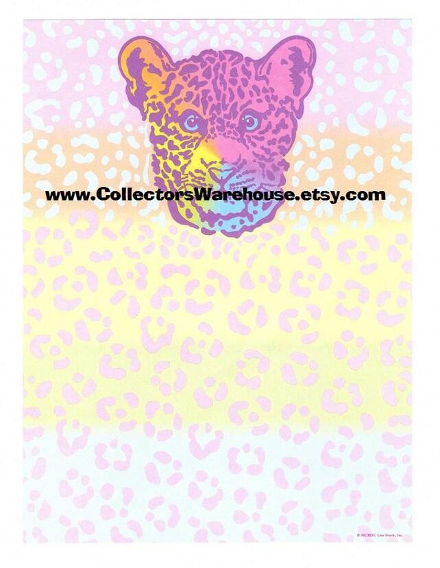Lisa Frank Rainbow Leopard Stationery Sheet  vintage 90's