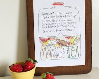 STRAWBERRY LEMONade sun TEA Illustrated Recipe Print Kitchen Art