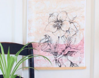 "limited edition watercolor batik HELLEBORE 13"" X 18"" LARGE botanical fine art giclee PRINT unframed"