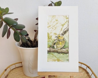 Cape May Warbler Watercolor Print, Bird Print, warbler print, bird Painting, yellow bird print